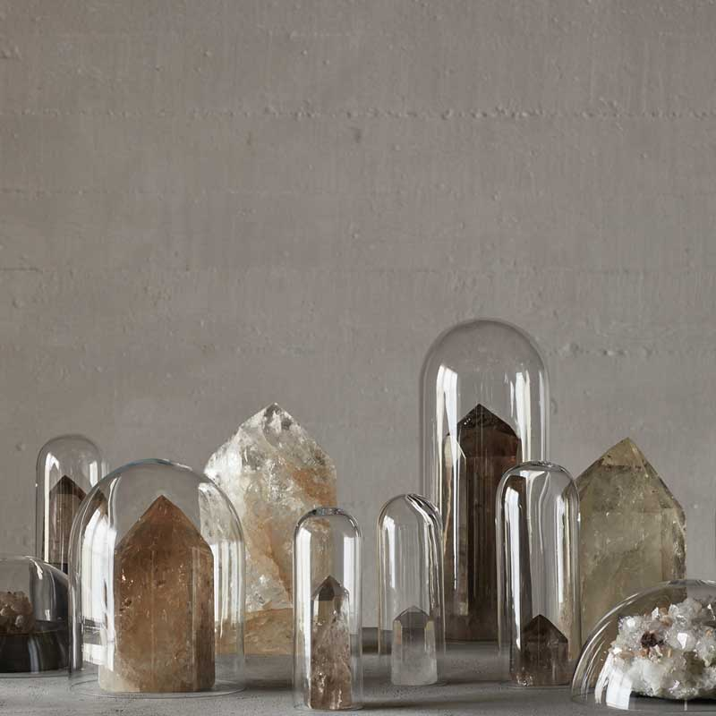 crystals with singing bowls and candles