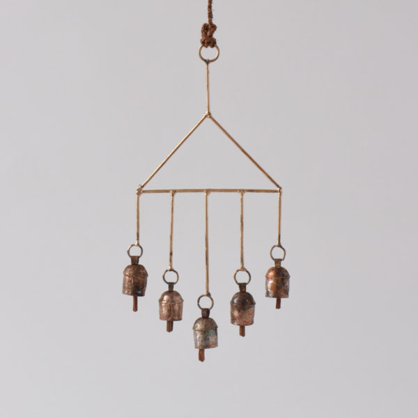 hanging 5 bell recycled steel chimes