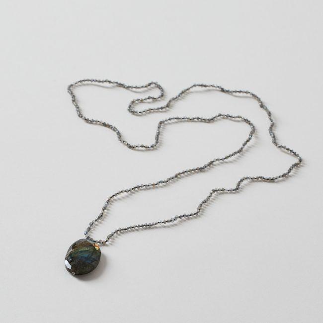 Long Labradorite Necklace with Labradorite Pendant