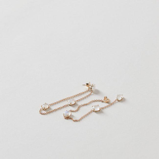 Moonstone Hoop Earring 14k Gold