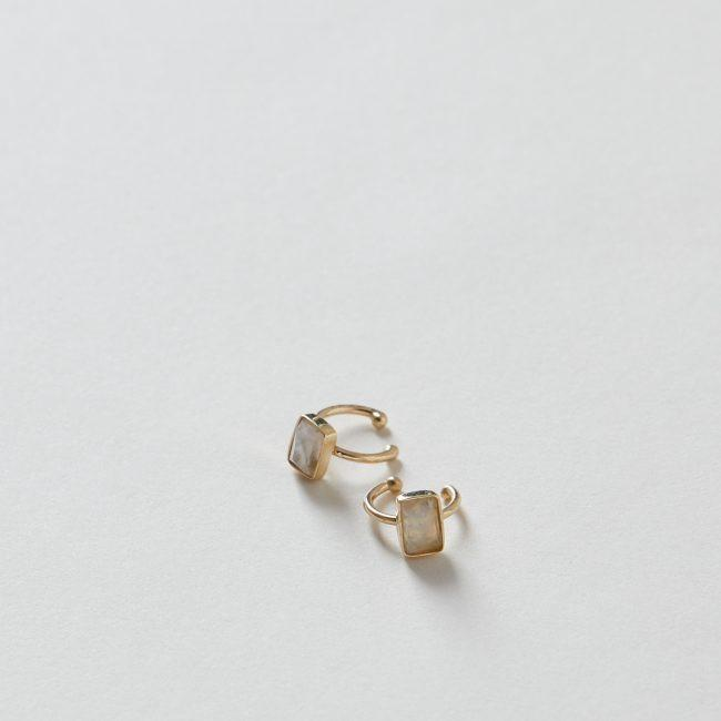 Pave Diamond and Rectangle Moonstone Ear Band 14k Gold
