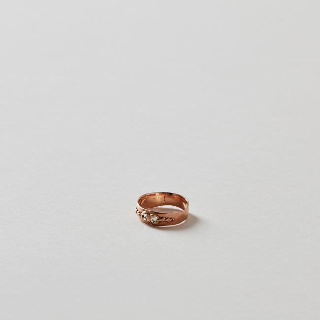 Polly Wales Wide Pinched Band Rose Gold Ring