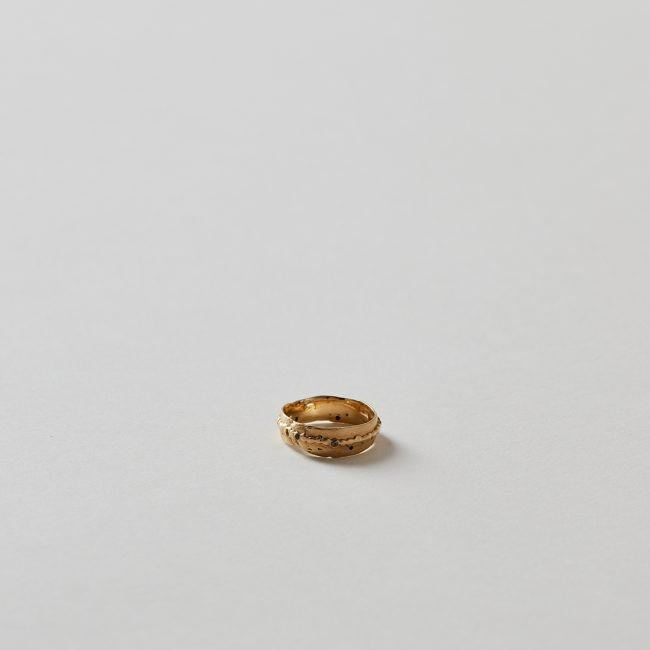 Polly Wales Wide Pinched Band Yellow Gold Ring