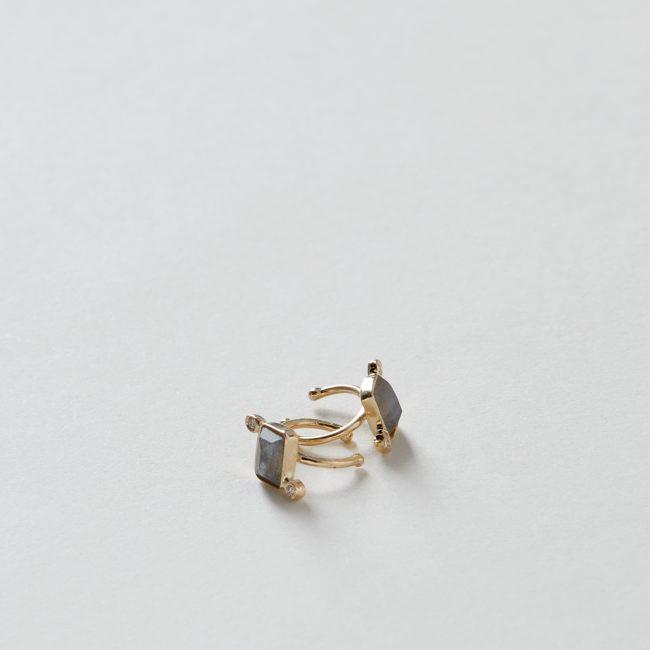 Rectangle Labradorite and 2 Diamond Ear Band 14k Gold