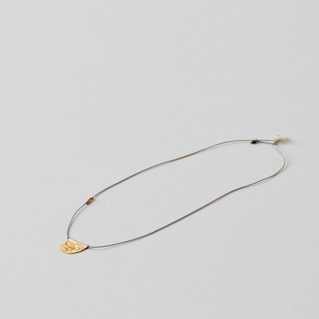 River Song Half-Moon Talisman Necklace on Light Grey Nylon