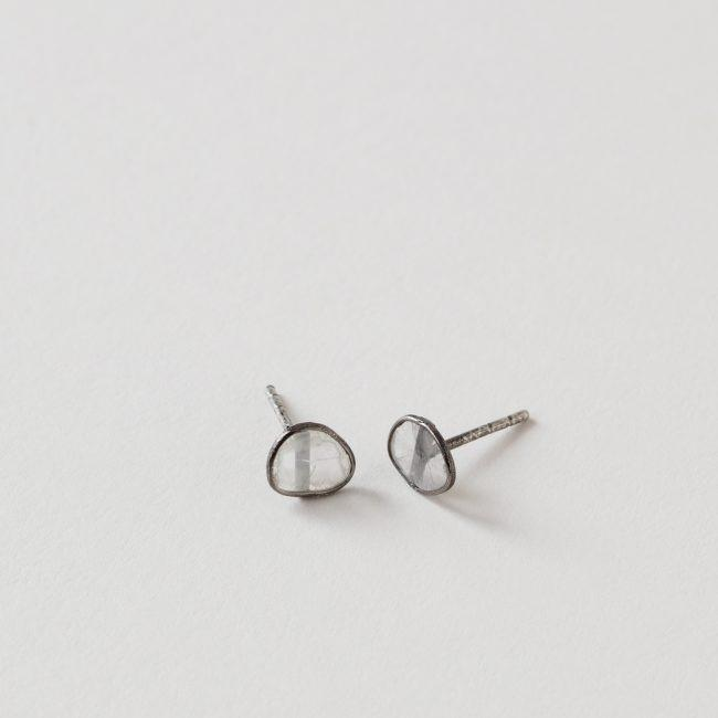 River Song Oxidized Sterling Silver Diamond Slice Studs