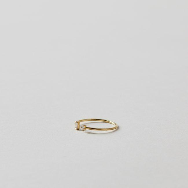 Sweet Pea Diamond Baguette and Brilliant Cut Open Ring