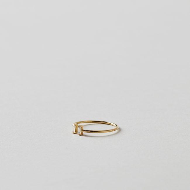 Sweet Pea Double Diamond Baguette Open Ring