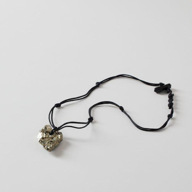 Sweet Satya Dual Sided Pyrite Pendant Knotted Cord Necklace with Black Tourmaline Clasp