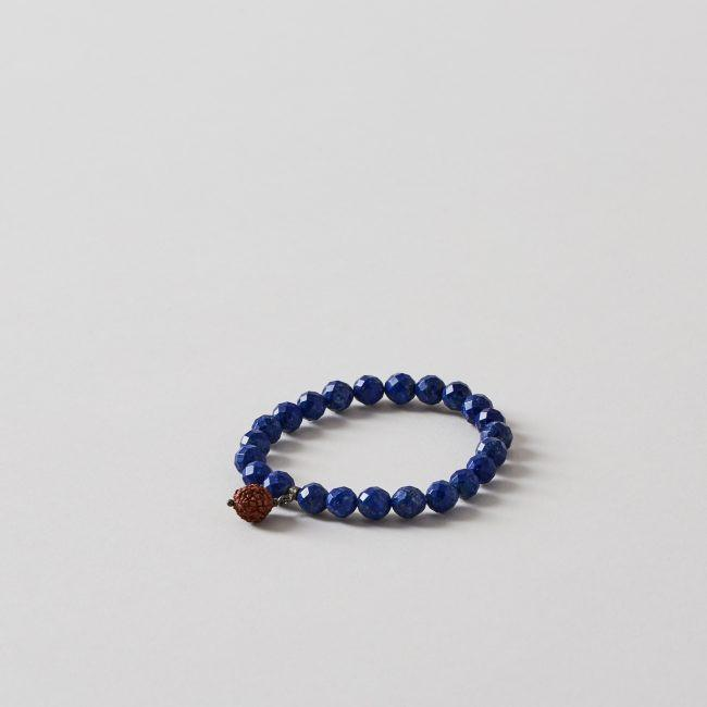 The Wisdom Bracelet - Lapislazuli with Single Rudraksha