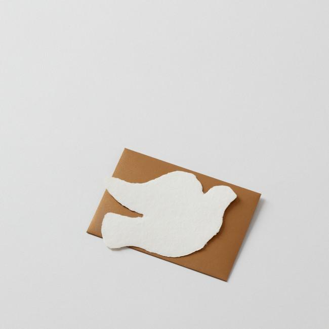 Deckled Dove Handmade Paper Note with Gold Envelope
