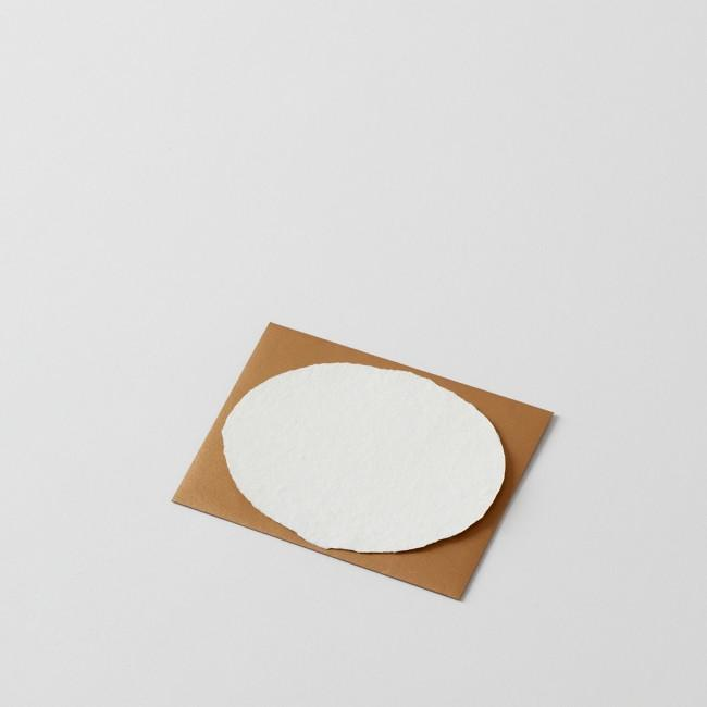 Deckled Oval Handmade Paper Note with Gold Envelope