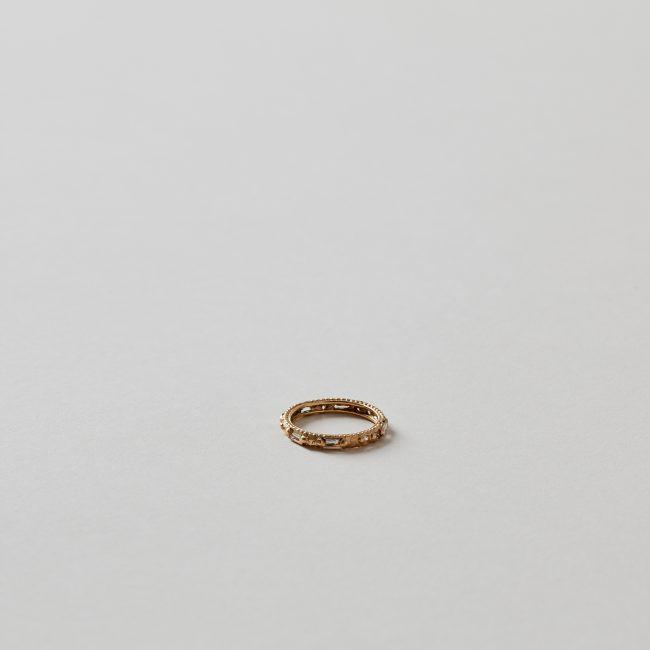 Polly Wales Gold Baguette Diamond Arcarde Ring