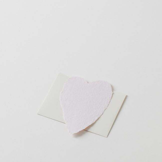 Small Pink Heart Handmade Paper Note with Cream Envelope