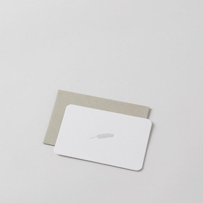 Mini Feather Letterpress Card with Handprinted Letterpress Envelope