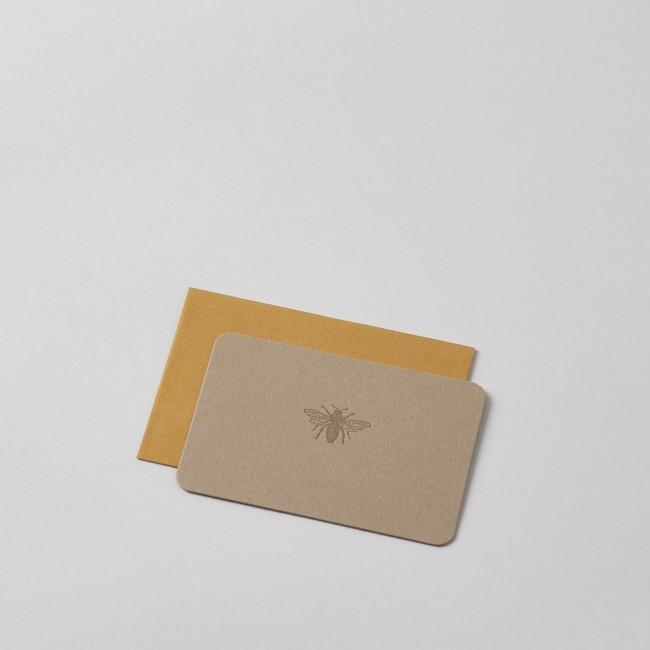 Mini Letterpress Bee Card with Handprinted Letterpress Envelope