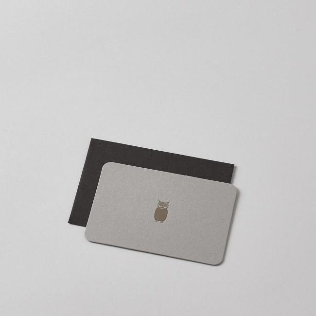 Mini Letterpress Owl Card with Handprinted Letterpress Envelope