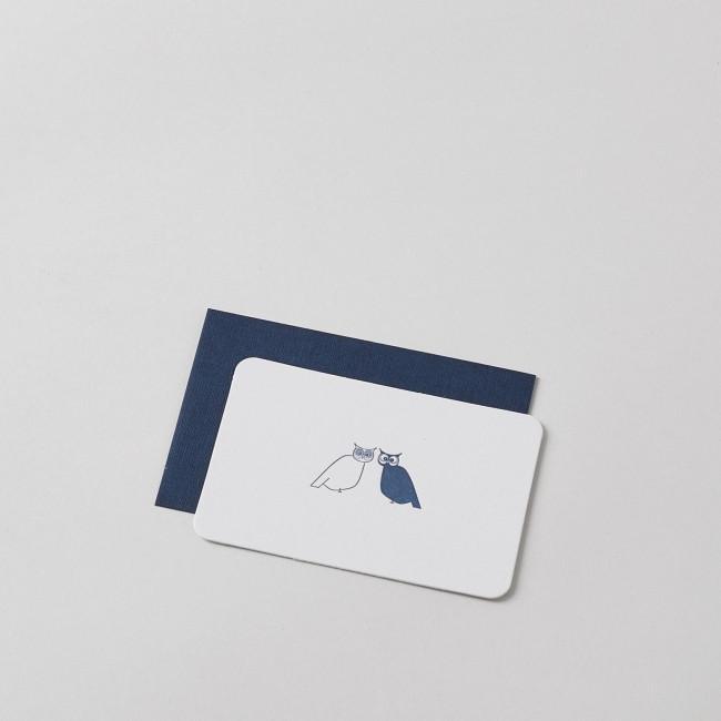 Mini Letterpress Two Owls Card with Handprinted Letterpress Envelope