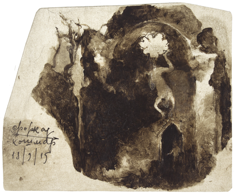 painting of Dream of ambush in a ruined chapel by Denis Forkas