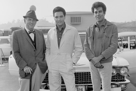 photo of Colonel Tom Parker, Elvis and Geller at Dodger Stadium while filming Spinout, 1966