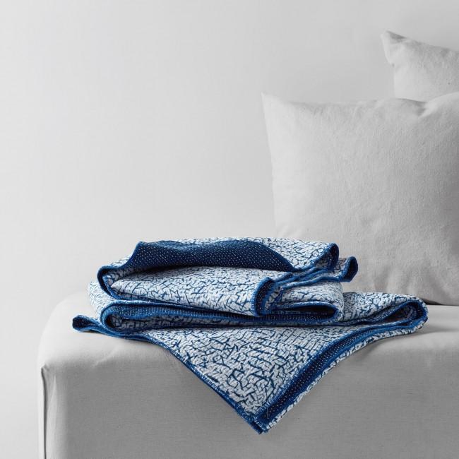 Hand Dyed Indigo Shibori Quilt in Khadi Cotton