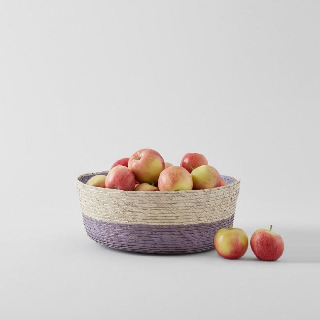 Double Round Basket Natural with Cantera Stripe on Bottom & Cantera Interior