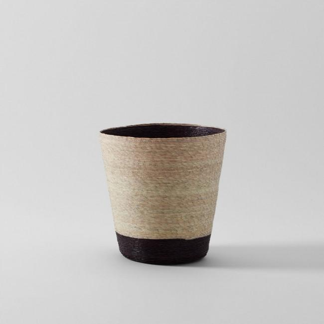 Conical Basket Natural With Plum Stripe on Bottom & Plum Interior