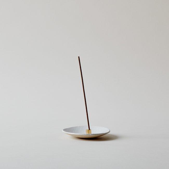 White Ceramic Dish and Gold Incense Holder Set