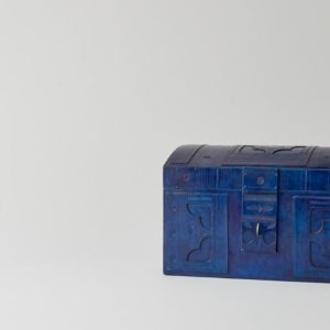 Handmade Leather Blue Trunk