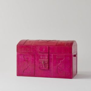 Handmade Leather Hot Pink Trunk