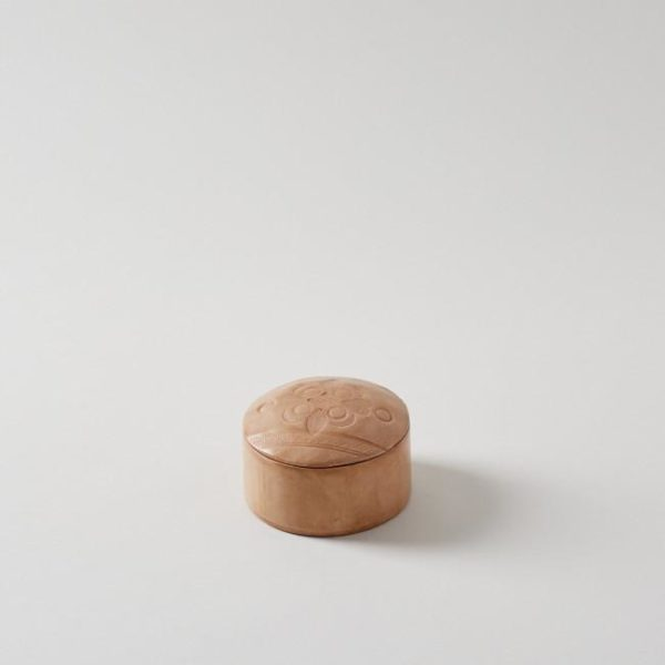 Handmade Leather Natural Round Box