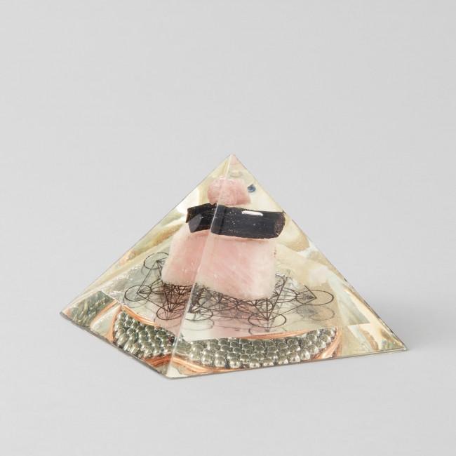 Medium Pink and Black Tourmaline Rose Quartz and Arkansas Quartz Metatron Orgone Pyramid