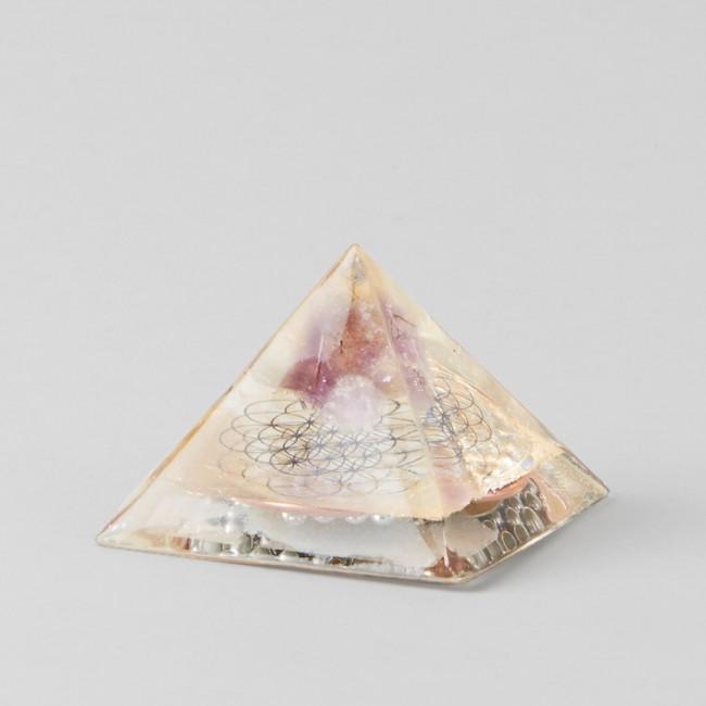 Amethyst Gold Flower of Life Orgone Pyramid