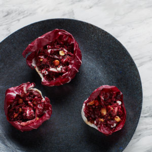Red Beet and Quinoa Salad with Hazelnuts and Goat Cheese
