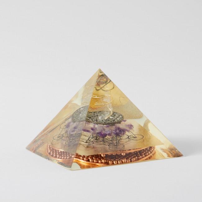 Amethyst Pyrite Flower of Life Gold Orgone Pyramid