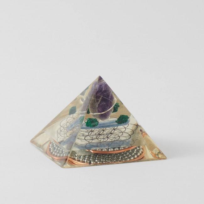 Amethyst Malachite Kyanite Orgone Pyramid