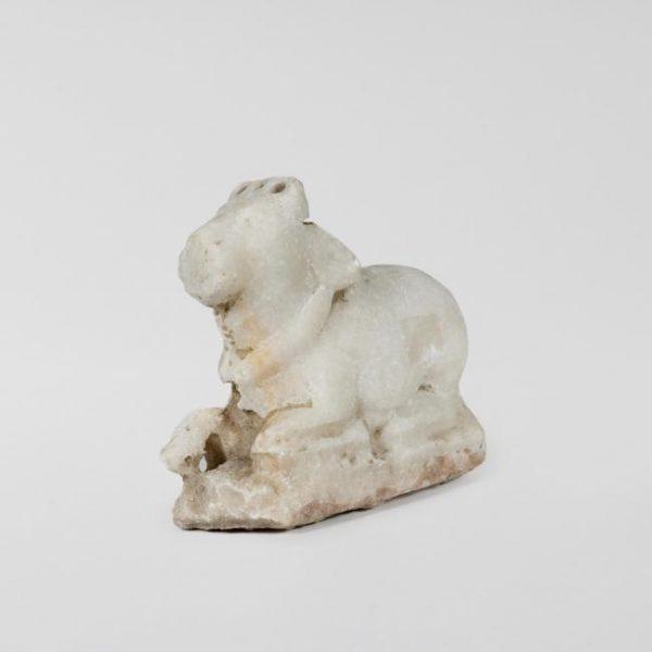 Medium 19th Century Antique Marble Nandi Bull Statue