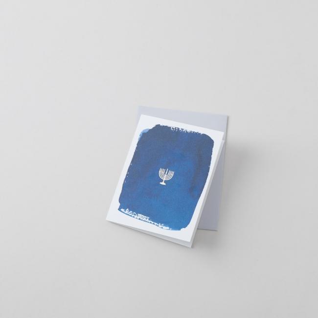Navy Hanukkah Single Greeting Card