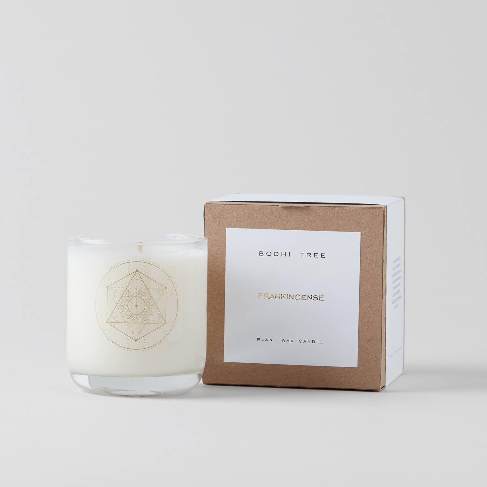 bodhi tree frankincense scented candle and box