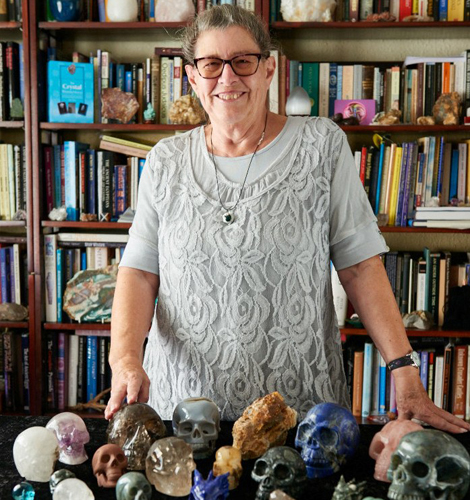 Judy Hall with her crystals