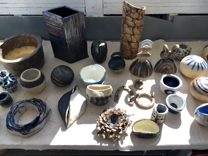 tabletop of pottery