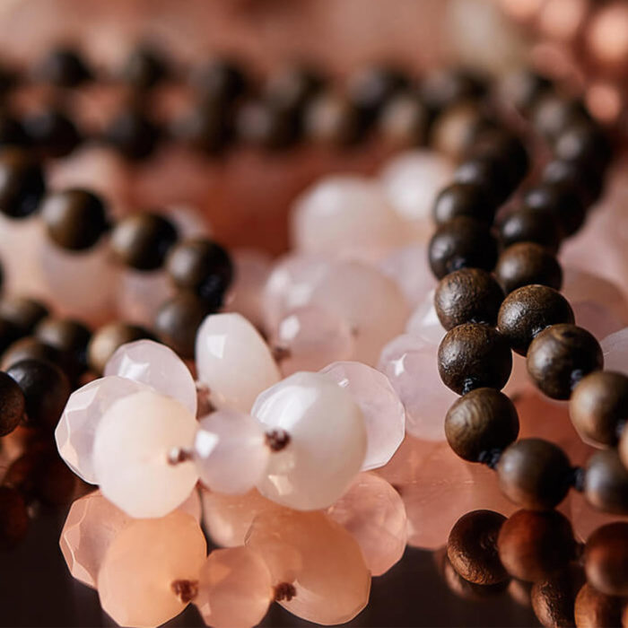 close up of mala beads