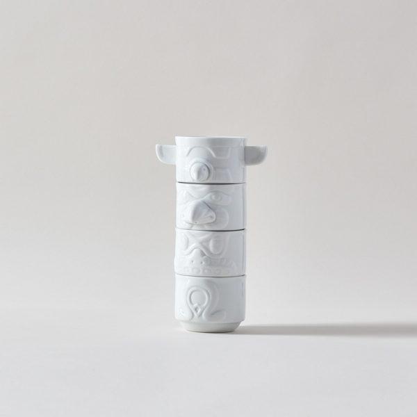 Porcelain Totem Stacking Mugs - Set of 4