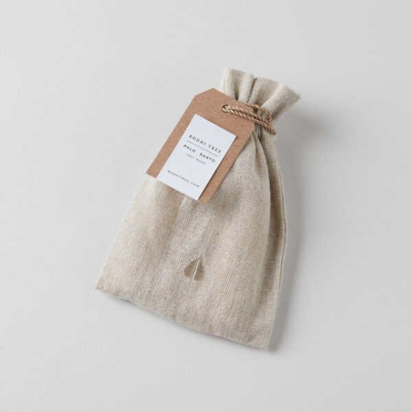 linen pouch tied with string and a label