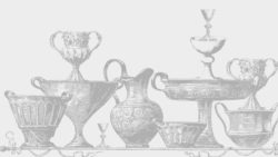 drawing of antique urns, bowls and pitchers