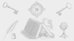 quill and inkwell, two skeleton keys, globe in stand, person under book used as a tent