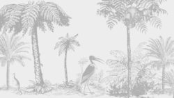 drawing of jungle, palm trees and animals