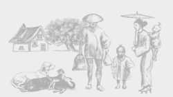 muted tone drawing house and tree in background with dog and cats in foreground with man and child, woman and baby on back holding umbrella